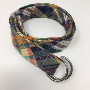 J Crew Plaid D Ring Belt S/M
